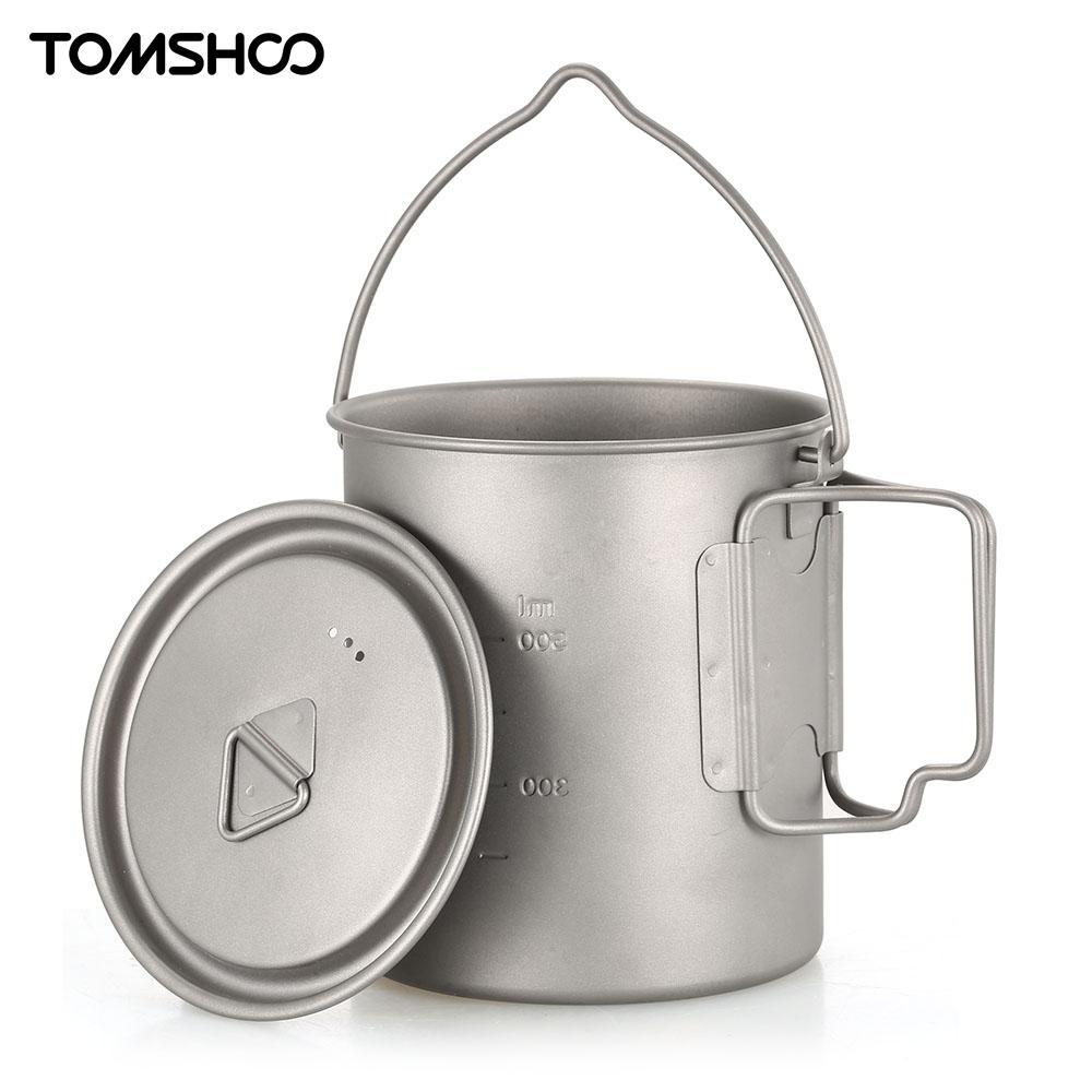 TOMSHOO Ultra-Léger En Plein Air Titane Vaisselle 750 ml Pot Portable Titane mug à eau gobelet avec couvercle Camping Randonnée Pique-Nique Voyage