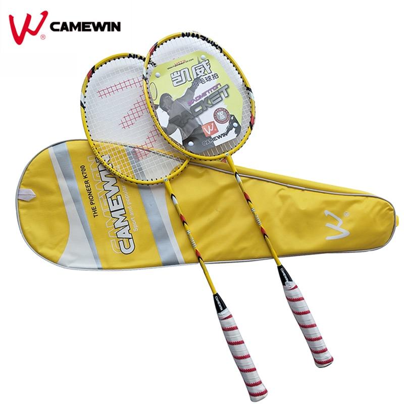 1 пара Высокое качество углерода Бадминтон ракетка camewin бренд Профессиональный Бадминтон ракетки с сумкой желтый Черный, красный, серый цве...