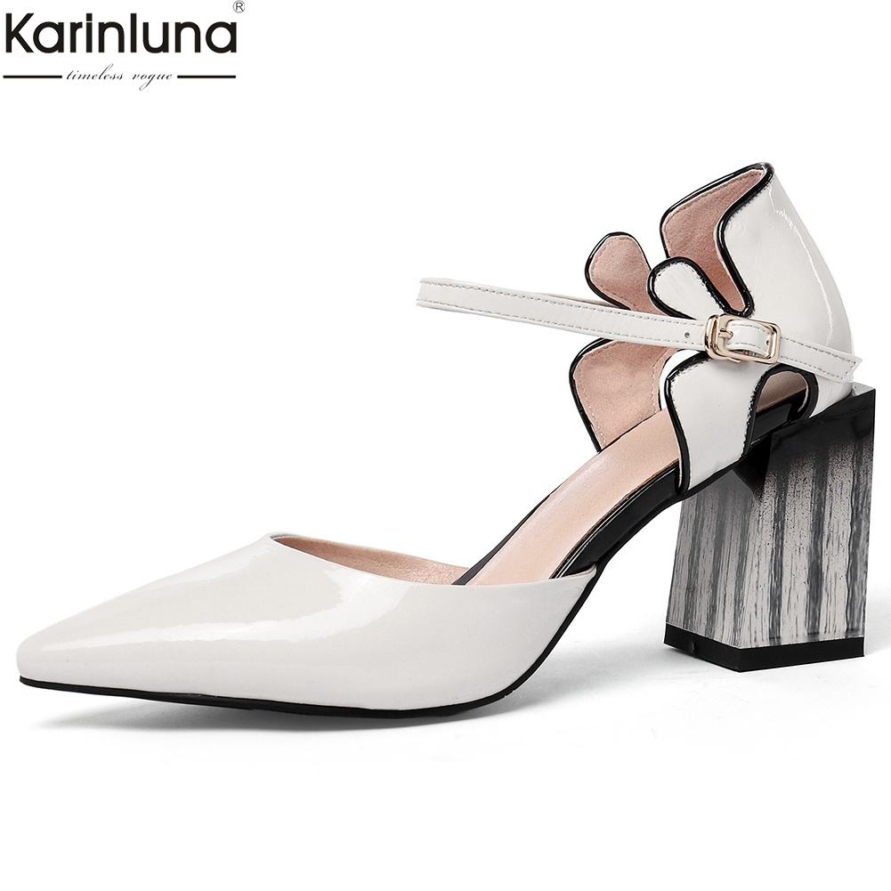 Karinluna Top Quality Patent Leather Big Size 43 Cow Leather Party Wedding Sandals Women Shoes High