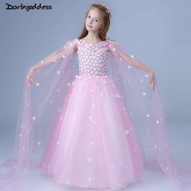 2018 Pink / White   Flower     Girl     Dress   for Weddings First Holy Communion   Dress   For Baby Little   Girl   Prom   Dress   Tulle Pageant Gown