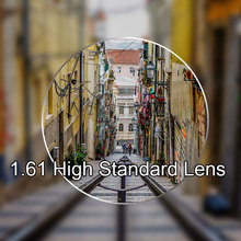 Nuevo 1,61 lentes de visión única para hombres y mujeres lente de visión única óptica transparente HMC, EMI asférico Anti UV