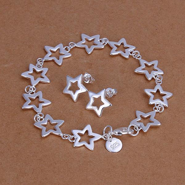 2018 New Female 925 stamped silver plated Hollow Star Bracelet Earring Silver bridal Jewelry Sets Charm Gift For Women
