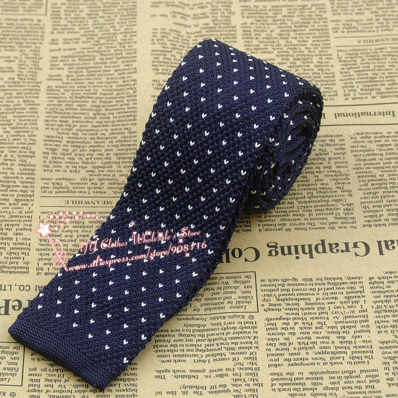 Brand New,Mens Fashion White Dot Navy Blue Skinny(6cm) Knitting Neck Ties For Man Business Knitted Ties