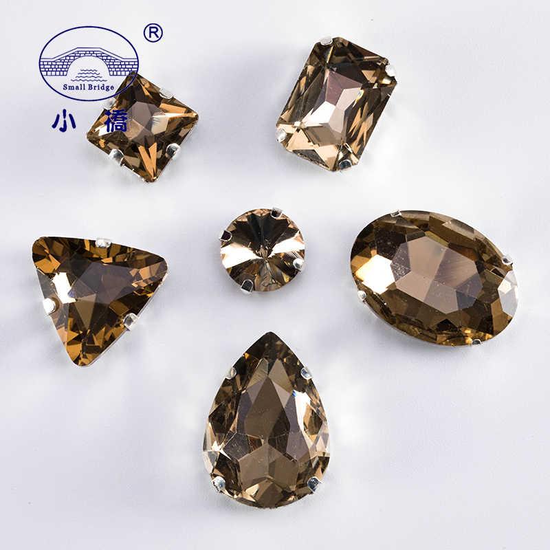 Brillantina cristal para coser diamantes de imitación piedras marrones claras para la decoración de la ropa diamantes de imitación de cristal sueltos con garra 50 unids/pack S051