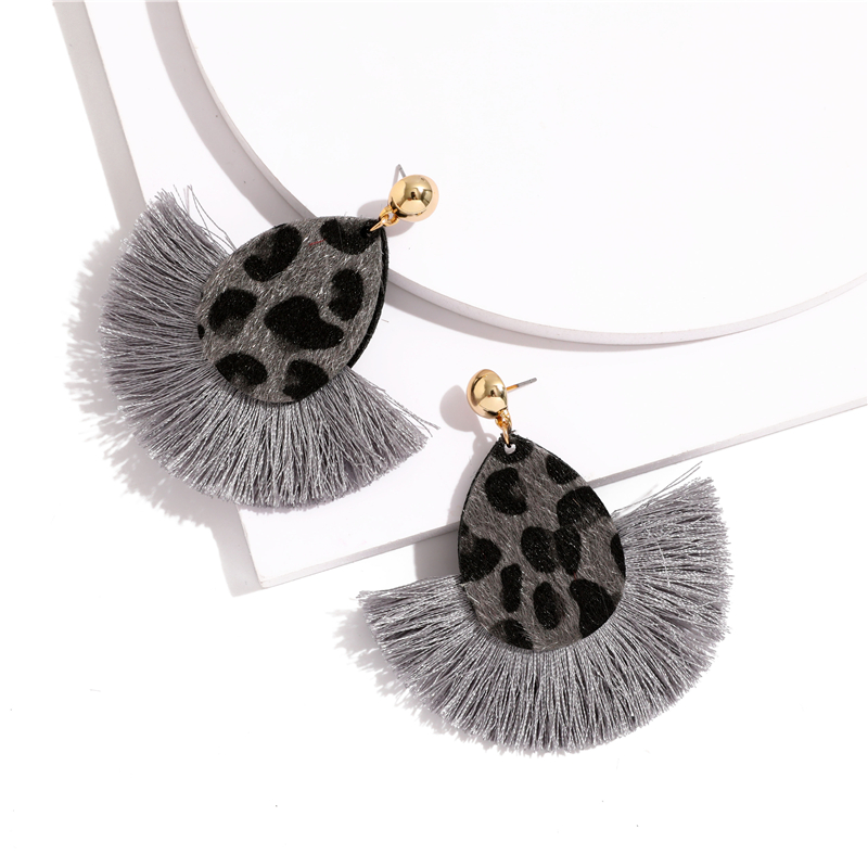 Bohemia Leopard Dangle Drop Earrings Biscuits Round Resin Cheetah Tassel Earrings for Women sector Jewelry Pendientes oorbellen 3