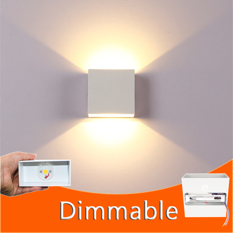 Indoor Dimmable Wall Lamp 6W LED Luminaire Aisle Square Wall Sconce Bedroom LED Wall Lights White/Black Color(China)