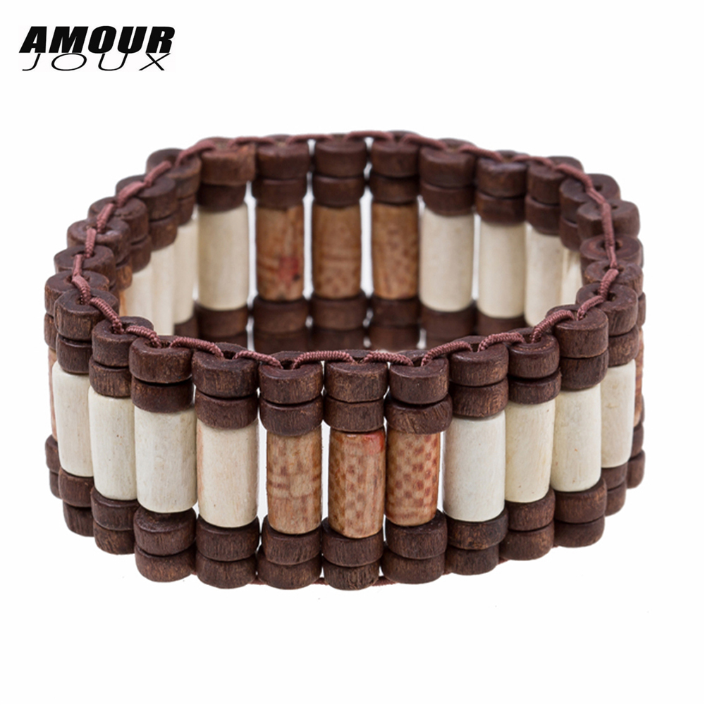 AMOURJOUX Vintage White Light Wood Beaded Linking Chain Bracelet Ethnic Sting Elastic Bracelets For Men Women