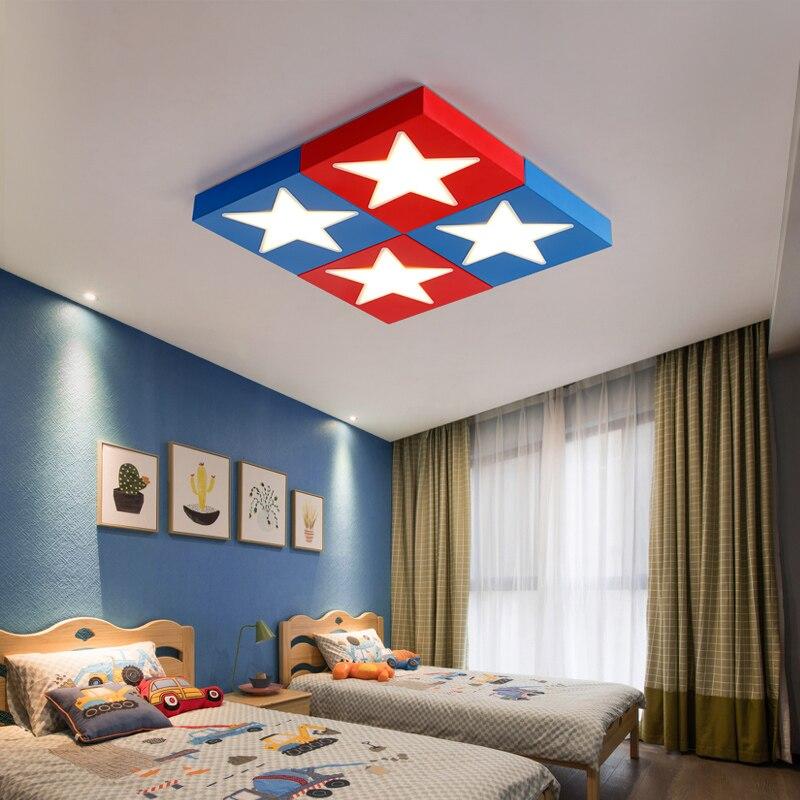 Lampe enfant LED plafonniers chambre d'enfant dessin animé personnalité créative chambre garçon oeil étoile rouge bleu ceiing lampe ZA ET72
