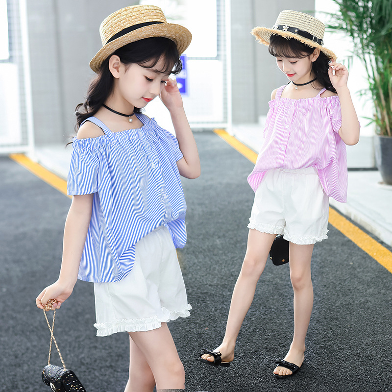 Girl Clothing Set 2018 Back To School Little Girl Clothes Striped Off Shoulder Blouse + Shorts Two Piece Teenage Fashion Suit 12 revere collar allover flamingo print blouse & shorts pajama set