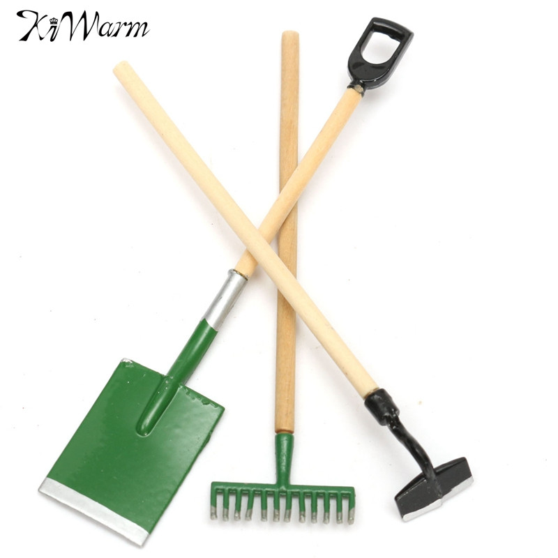 Lovely 3Pcs Set 1 12 Scale Small Garden Tools Set Spade Rake Shed Outdoor. Popular Miniature Gardening Tools Buy Cheap Miniature Gardening