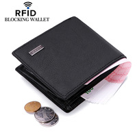 RFID Blocking Genuine Cowhide Leather New Men S Wallets Antimagnetic 3 Folds Black Samll Zipper Coin