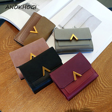 Solid Leather Small Women Wallet Mini Ladies Metal V Purses