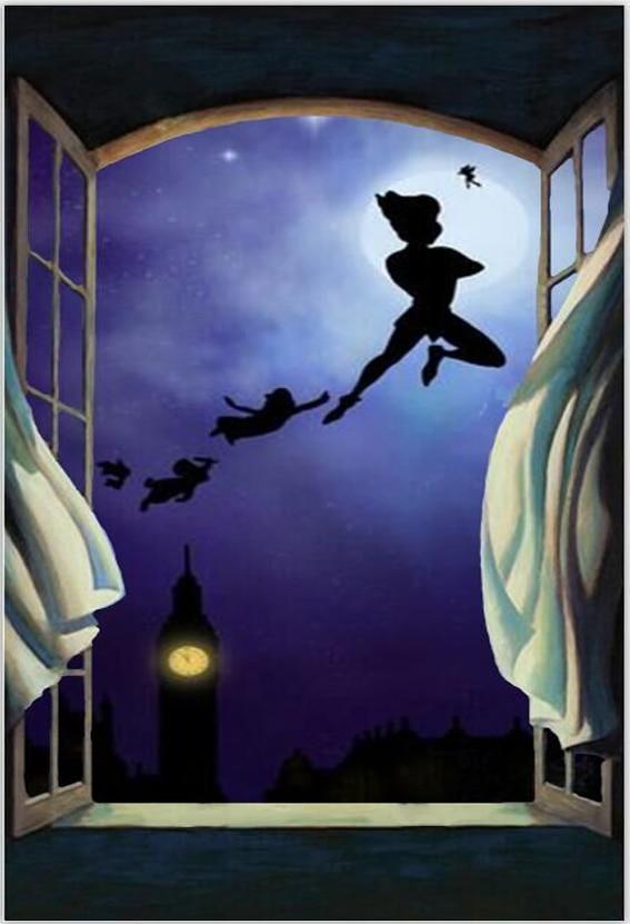5x7ft Peter Pan Wendy Tinker Bell London Tower Window Dark
