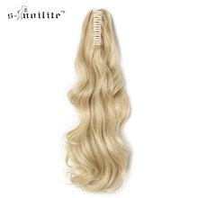 SNOILITE 18-26 inch Synthetic Thick Curly Long Ponytail Hair Extensions Claw on Hairpieces Hairstyles Medium Brown Christmas