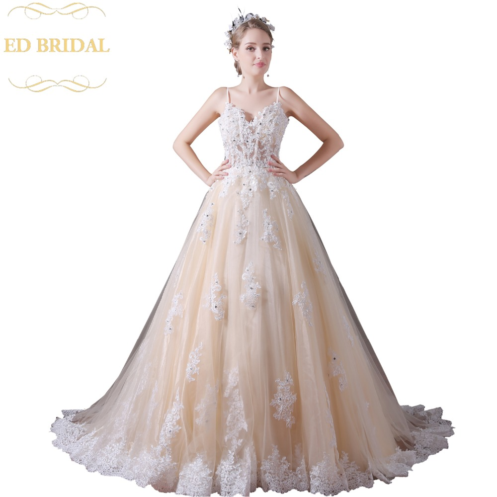 Spaghetti Straps See Through Ball Gown Champagne Wedding Dress With Beaded Lace Liques Robe De Mariee Vestido Novia In Dresses From Weddings