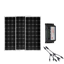 3 Pcs Solar Panel 100w 12V Charge Controller 12V/24V iN 1 Connector Kit Home System Marine Boat Yacht