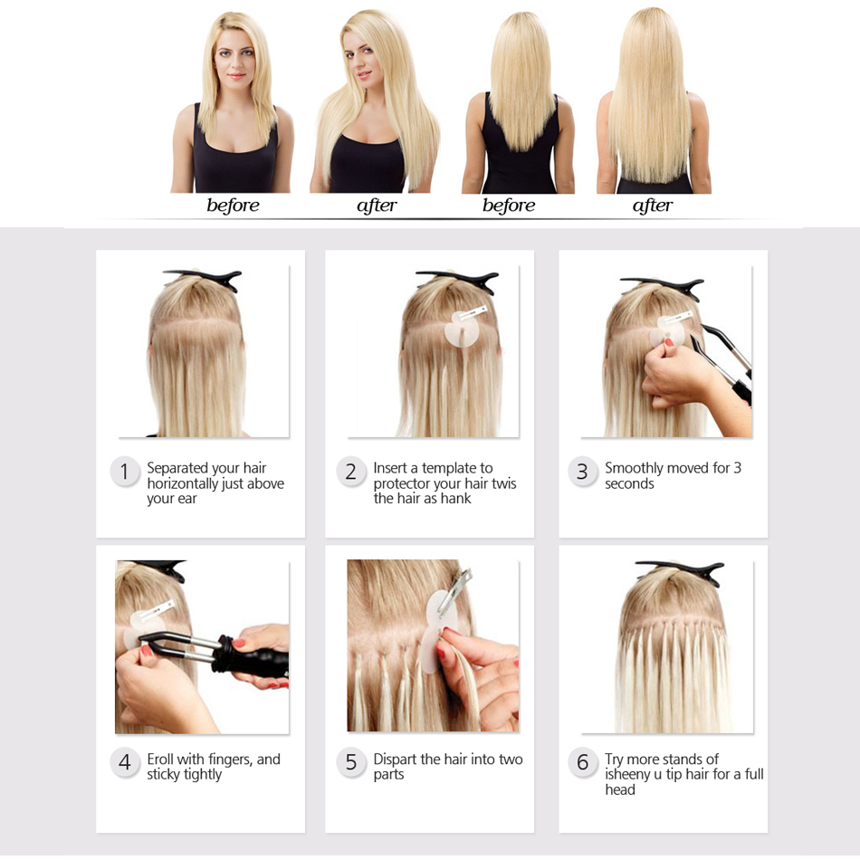 Isheeny 60# Straight Keratin Capsules Human Fusion Hair Nail U Tip Cuticle Remy Pre Bonded Hair Extension 14 18 20 22 24