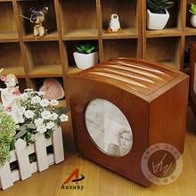 A Ausuky NEW Retro European Wooden rotation  60 Disc Capacity DVD CD Case for Car Media Storage CD Bag -20