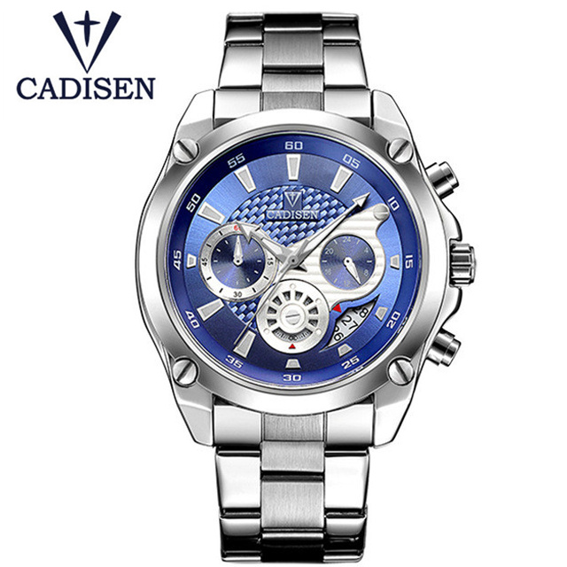 2017 Brand CADISEN Stainless Steel Watch Men Casual Fashion Creative Quartz Wristwatches Military Sports Relogio Masculino Clock bgg brand creative two turntables dial women men watch stainless mesh boy girl casual quartz watch students watch relogio