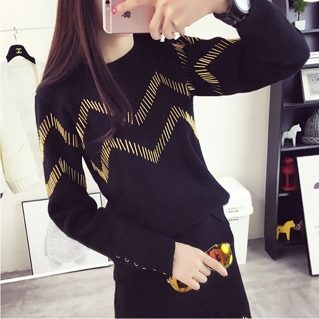 2 Piece Sets New Arrival Sale Women's Tracksuit knitted Pullover Sweaters 2016 Winter plaid skirt suits Casual Loose Sweater