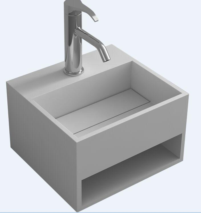 Solid Surface Bathroom Sink: Rectangular Bathroom Solid Surface Stone Wall Hung Sink