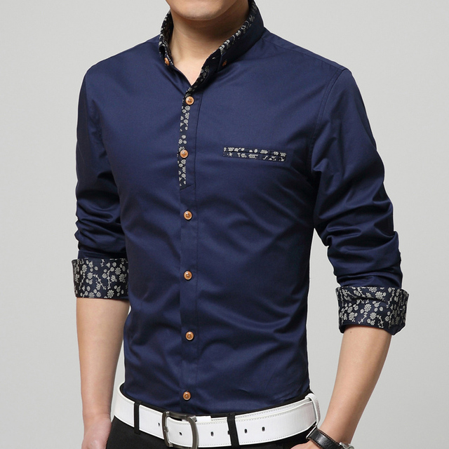 Men 100% Cotton Shirt 2016 Autumn Winter New Brand Clothing Neckline Patchwork Flower Fashion Business Dress Long sleeve Shirts