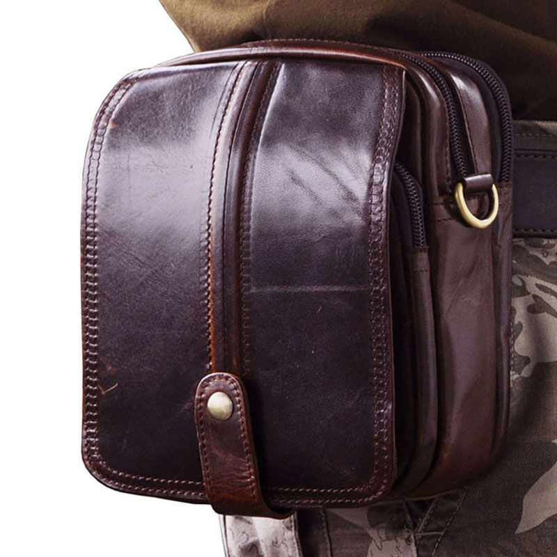 ФОТО 2017  Genuine Leather Shoulder Bag Men Vintage fashion Travel Casual Belt Fanny Waist Bag Belt Messenger Bags