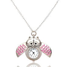 Relogio Feminino Mini Metal owl double open Quartz Watch Pendant Necklace Pocket Watch Women Ladies Clock Round Shape Gift M5