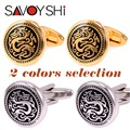 SAVOYSHI Vintage Dragon Pattern Cufflinks for mens Shirt Cuff Bottons Round Gold Silver Cufflinks Wedding Brand Jewelry Design