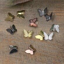 100 шт, 11 мм x 13 мм, металлические медные ажурные бабочки, обертывания, соединители, шарм, сделай сам, ювелирные аксессуары, фурнитура для ювелирных изделий