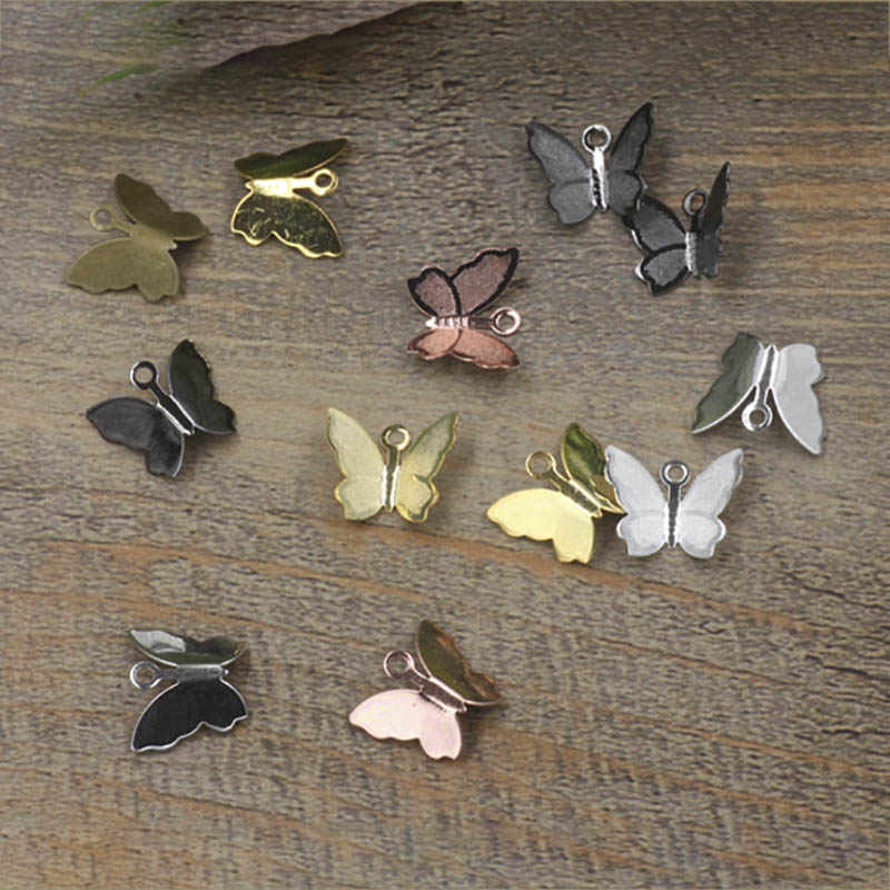 100PCS 11mm x 13mm โลหะทองแดง Butterfly Filigree Wraps Connectors Charm DIY