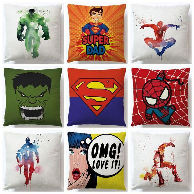Cartoon Super Heros Cotone Lino Cuscino Pillow Case della Decorazione Della Casa