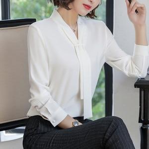 Image 4 - New Fashion Temperament Women Clothing Long Sleeve Blouses Formal Slim Tie Chiffon Shirt Office Ladies Plus Size Tops Navy Blue