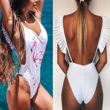 купить Flamingo Print One Piece Swimwear 2019 shoulder ruffles Solid white swimwear women backless bathing dress Floral Monokini Set дешево