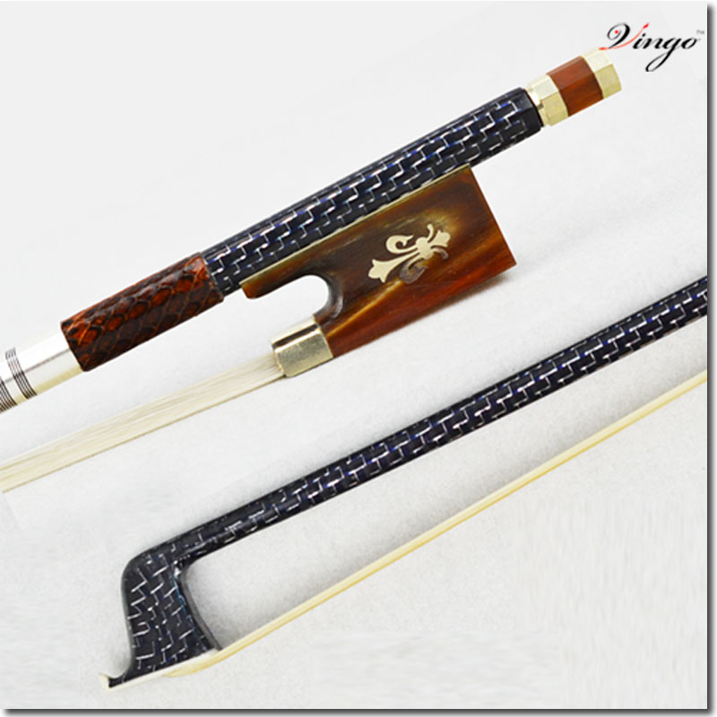 WELL-PACKED 4/4 Size 200V VIOLIN BOW Woven Carbon Fiber Stick Ox Horn Frog and Screw Nice White Mane Durable Violin Accessories 1 4 size 812vb pernambuco violin bow high density ebony frog with nickel silver good quality hair straight violin accessories