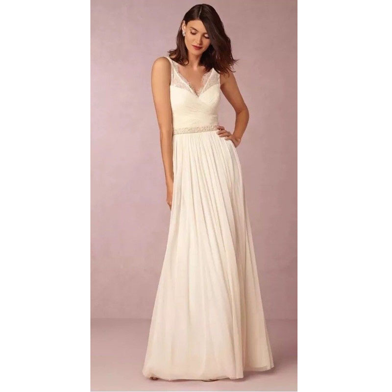U-SWEAR 2019 New Arrival  A-Line Bridesmaid Dresses  V-neck  Sleeveless  Chiffon  Floor-Length  Lace Maid Of Honor Cheap Gowns