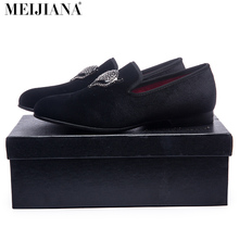 2017 Pantoufle de Fumer Hommes chaussures hommes de luxe Livraison shippingFashion Hommes Velours Chaussures avec Renard Strass boucle De Mariage Mocassins