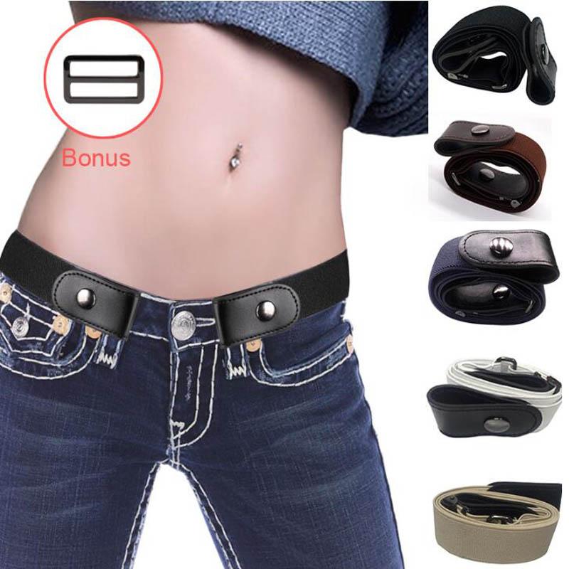 Belt-Buckle Dresses Pants Stretch-Belt Elastic Free Women's Jeans