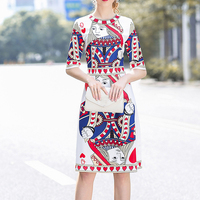 Spring Slim Dress For Women Cards Printed Dress Female Brand Top Quality Clothing Lady Red Heart