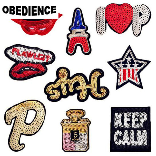 Obedience 10pcs Mix Lip P Pattern Sequins Embroidery Patch Motif