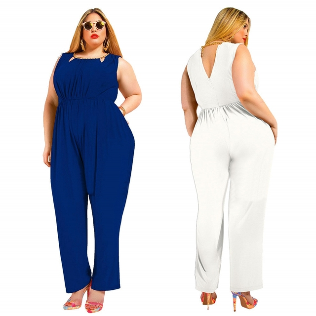 FK1520 Women Plus Size Jumpsuits Sleeveless O neck Hollow out Solid color Elastic Waist Long Pants Rompers XL-5XL Drop Shipping
