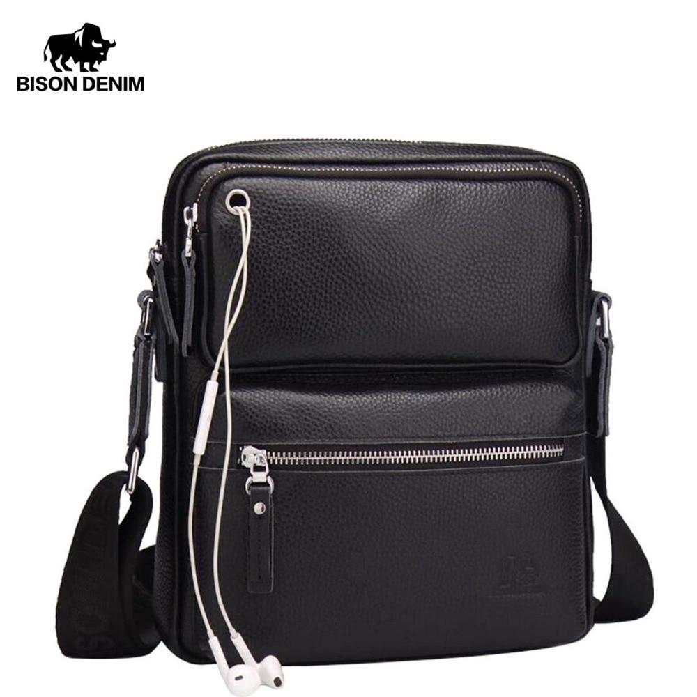 BISON DENIM Echtes Leder Herrentasche Marke Schwarz Business Männliche Messenger bags Mann Crossbody Taschen Für Männer ipad N2533