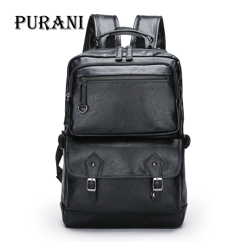 PURANI Men s Backpack Black PU Leather Backpacks Male Large Travel Bag Men Laptop Backpack Large