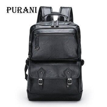 PURANI Men's Backpack Black PU Leather Backpacks Male Large Travel Bag Men Laptop Backpack Large Man School Bags Mochila Bags