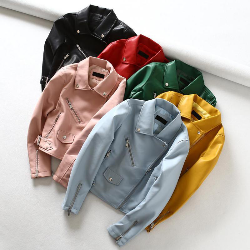 Spring Autumn Faux Leahter Jacket 2019 New Fashion Women Slim Zipper Yellow Biker Pvc Coats Ladies Punk Style Black Jackets