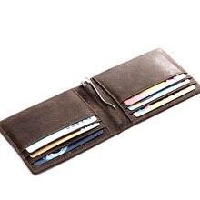 MS D'affaires En Cuir Véritable Mode Hommes Money Clip Slim Pliante portefeuilles Brun ID Carte de Crédit Sac En Cuir Clip de L'argent Portefeuille K310