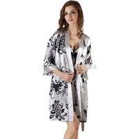 Papatya Yazdır Bayan Saten Kimono Robe ve Gecelik Pijama Set Yaz V Yaka Kaşkorse Lingerie Setleri Bayan Saten Pijama