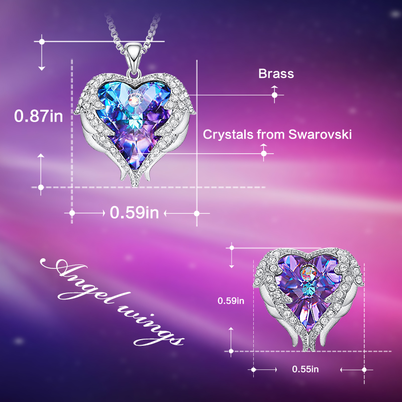 Cdyle crystaux de swarovski Ange Ailes Colliers Boucles D'oreilles Pourpre Bleu Cristal Coeur pendentif Ensemble Pour Femmes cadeaux d'amour - 4