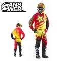 RESPOSTA ROCKSTAR Enduro Vermelho-Amarelo Super Motocross Jersey + Calças de Manga Comprida Camisa De Corrida de Moto de Motocross MX Roupas