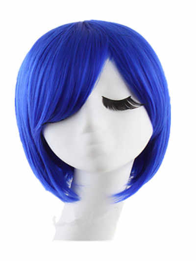 Косплей парик Fei-Show синтетические термостойкие волокна волнистые алмазные синие наклонные челки волосы короткие салонные вечерние женские волосы